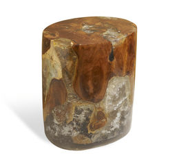 Atherton Teak and cracked Resin Oval Stool