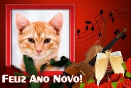 Moldura - Feliz Ano Novo Tacas E Violino