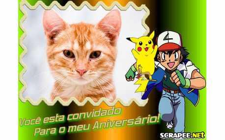 Moldura - Convite De Aniversario Pokemon