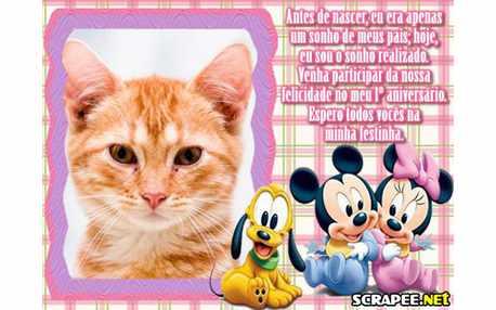 Moldura - Convite De 1 Ano Baby Disney Para Menina