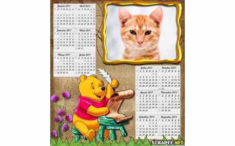 Moldura - Calendario Do Ursinho Pooh
