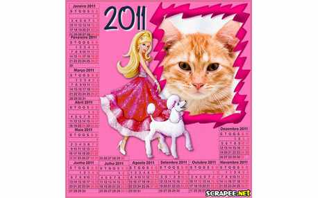 Moldura - Calendario Barbie Moda  Magia