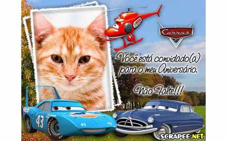 Moldura3954 Convite de aniversario carros