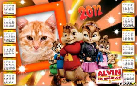 Moldura - Calendario 2012 Alvin E Os Esquilos