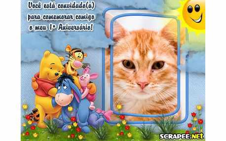 Moldura - Convite De 1 Ano Do Ursinho Pooh