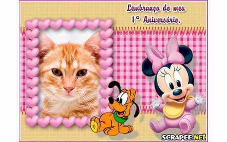 Moldura - Lembrancinha De 1 Ano Da Minnie Baby