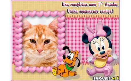 Moldura4493 Convite de 1 ano da Minnie baby