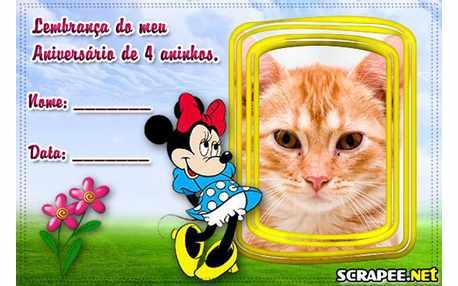 Moldura - Lembrancinha De 4 Anos Da Minnie