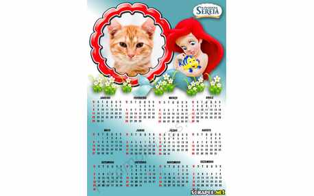 Moldura - Calendario Da Pequena Sereia Ariel