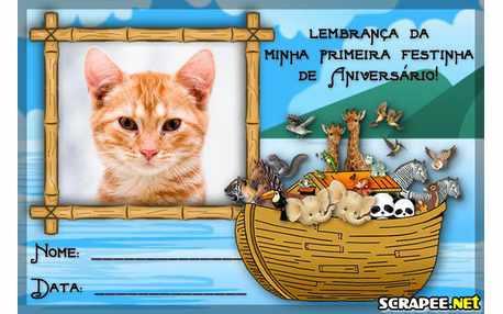 Moldura4631 Lembrancinha de 1 ano da Arca de Noe