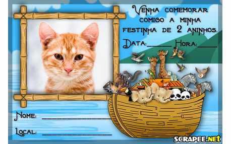 Moldura4659 Convite de 2 anos da Arca de Noe