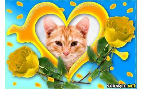 Moldura - Coracao Com Rosas Amarelas