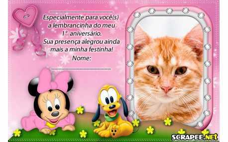Moldura - Lembranca De 1 Ano Da Minnie Baby