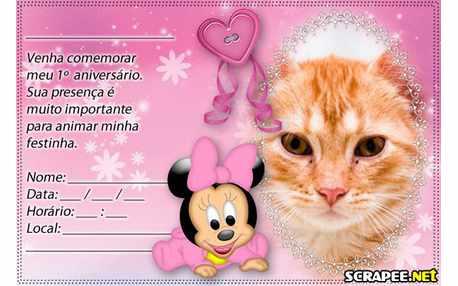 Moldura Convite De 1 Ano Da Minnie Baby