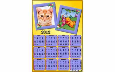 Moldura - Calendario Do Pooh 2012