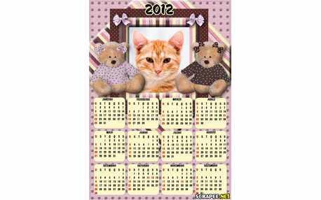 Moldura - Calendario Urso Marrom E Rosa