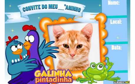 Moldura - Convite Galinha Pintadinha Para Menino