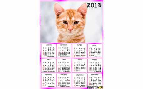 Moldura - Calendario Rosa Para Foto De Menina