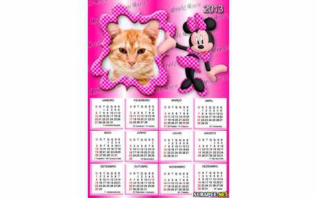 Moldura - Calendario Minnie Vestido Rosa