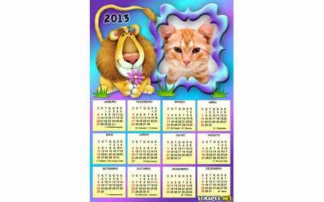 Moldura - Calendario De Leoa    Rei Leao