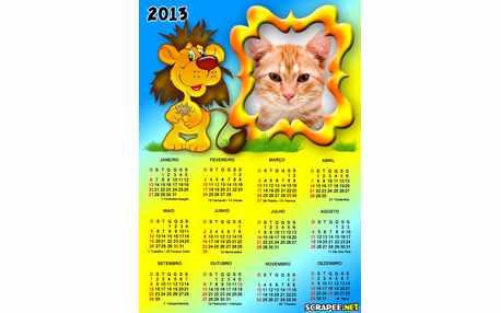 Moldura - Calendario Leaozinho 2013