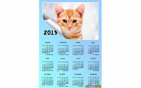 Moldura - Calendario 2013 Azul Bebe