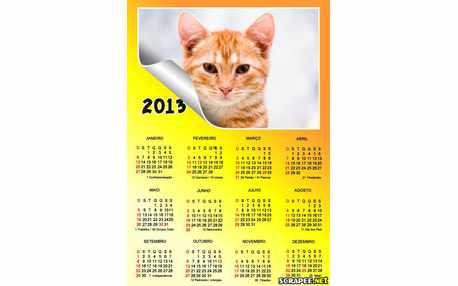 Moldura - Calendario 2013 Amarelo