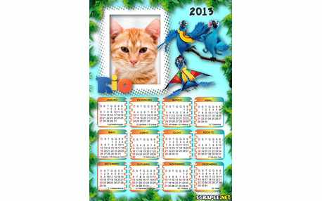 Moldura - Calendario Filme Rio 2013