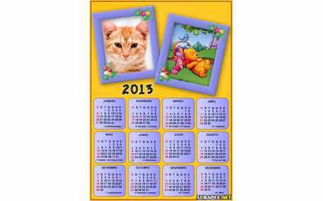 Moldura - Calendario Do Pooh 2013