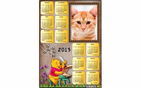 Moldura - Calendario Ursinho Pooh 2013