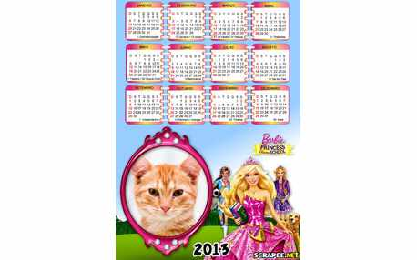 Moldura - Calendario Barbie Princesas Da Escola 2013