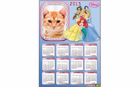 Moldura - Calendario 2013 Das Princesas