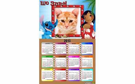Moldura - Calendario Lilo Stitch 2013