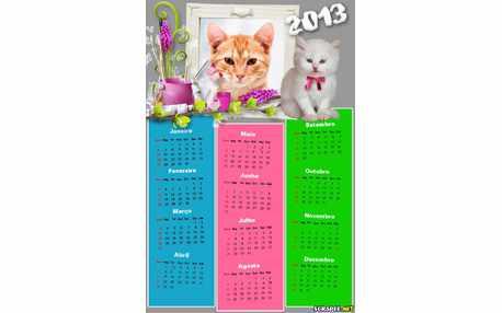Moldura - Calendario 2013 De Gatinho