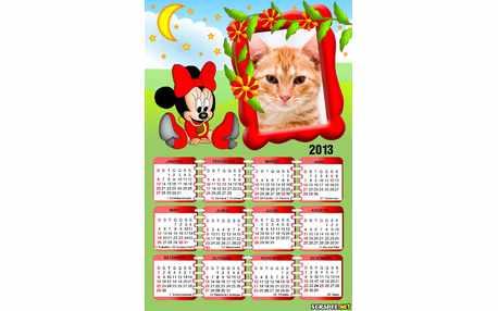 Moldura - Calendario Minnie Baby Vermelha