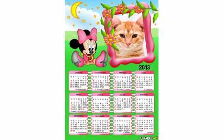 Moldura - Calendario Minnie Baby  Vestido Rosa