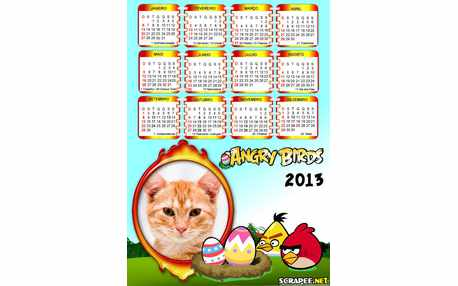 Moldura - Calendario Angry Birds 2013