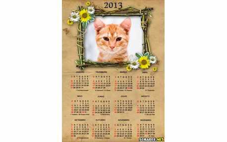 Moldura - Calendario 2013 Com Flores