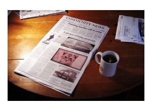 Montagem de foto Newspaper and tea