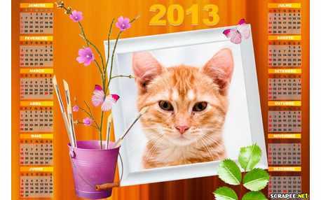 Moldura - Calendario 2013 Florido