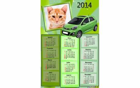 Moldura - Calendario De Carro Verde Picanto
