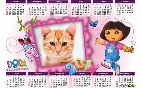 Moldura - Calendario 2014 Dora Aventureira
