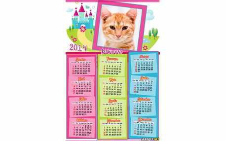 Moldura - Calendario Princess 2014