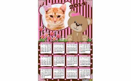 Moldura - Calendario Ursa Marrom E Rosa