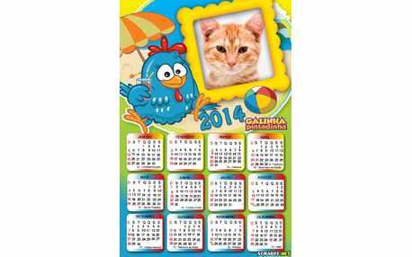Moldura - Calendario 2014 Galinha Pintadinha
