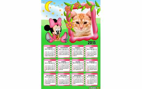 Moldura - Calendario Minnie Baby Rosa