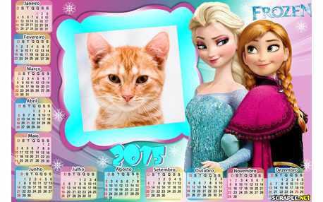 Moldura - Calendario 2015 Ana E Elsa Frozen