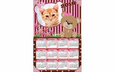 Moldura - Calendario 2016 Urso Marrom E Rosa