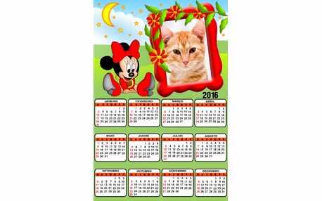 Moldura - Calendario 2016 Minnie Vermelha