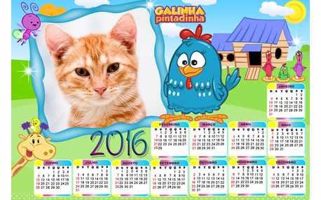Moldura - Calendario 2016 Galinha Pintadinha